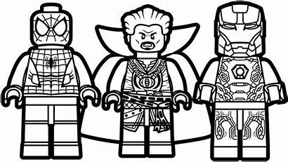 Lego Coloring Spiderman Iron Pages Strange Doctor