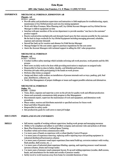 Shop Foreman Resume by Mechanical Foreman Resume Sles Velvet