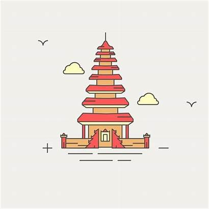 Vector Clip Temple Culture Bali Balinese Indonesia