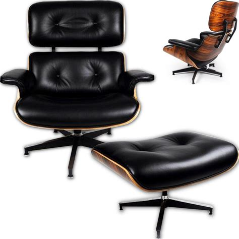 Wood And Leather Chair With Ottoman by Classic Style Chair Lounge Black Aniline Leather