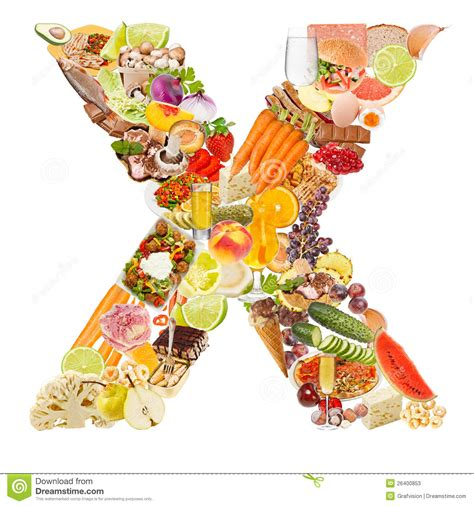 x cuisine letter x made of food stock photos image 26400853