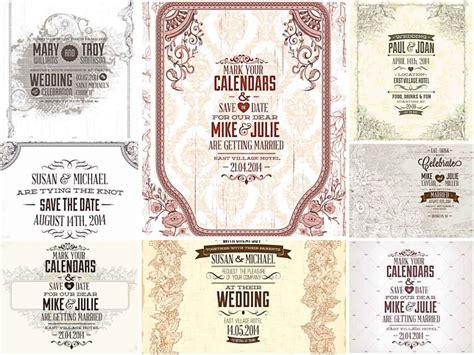 Light graphic wedding invitations vector Free download