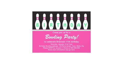 Girls bowling birthday party invitation with pins Zazzle