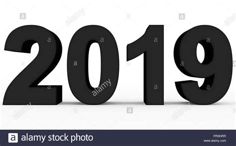 Year 2019 Black 3d Numbers Isolated On White