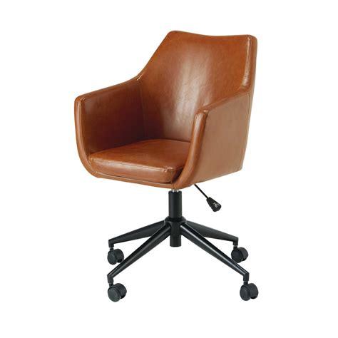 fauteuil de bureau en textile enduit marron vieilli davis