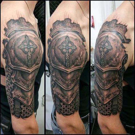realistic shoulder knight armor tattoo  men