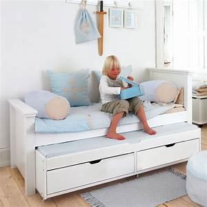 Lit 90x200 avec lit gigogne et tiroirs alfred et compagnie for Chambre ado garçon avec matelas pour lit relaxation
