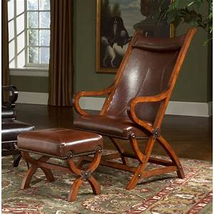 Tobacco, Brown, Faux, Leather, Accent, Chair, And, Ottoman