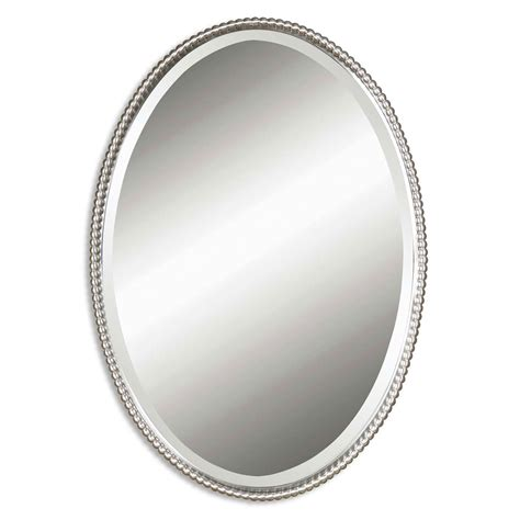 beautiful interior home sherise brushed nickel oval mirror uttermost wall mirror