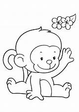 Coloring Pages Monkeys Monkey Funny Children Printable Colouring Sheets sketch template