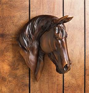 Chestnut brown horse bust wall mount western rustic home