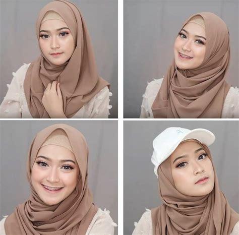 tutorial jilbab pashmina  simple dada tertutup