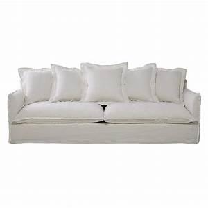 canape 5 places en lin lave blanc barcelone maisons du monde With canapé 5 places