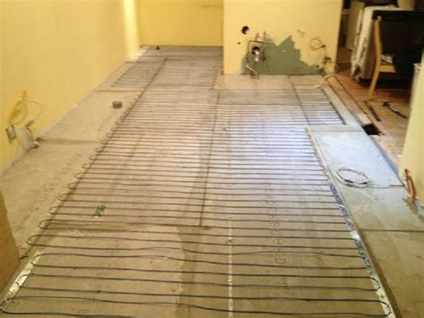 electric tile floor heating cable installation heated