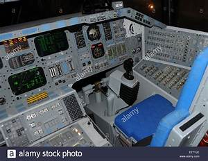 Space Shuttle flight controls and cockpit Stock Photo ...
