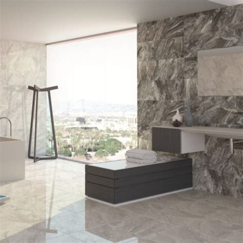 Marble Light Grey Wall Tiles With Mounted Sink And Large