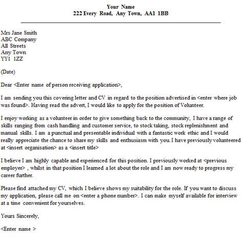 volunteer cover letter sle lettercv