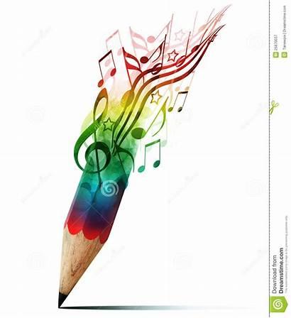 Creative Pencil Notes Colorful Symbols Single Musical
