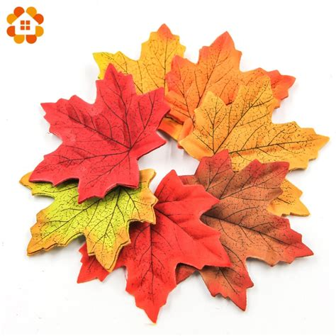 pcs cm large artifical maple leaves fake autumn fall