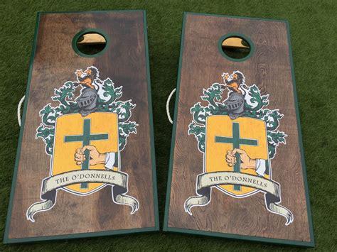 custom family crest  coat  arms cornhole board set west georgia cornhole