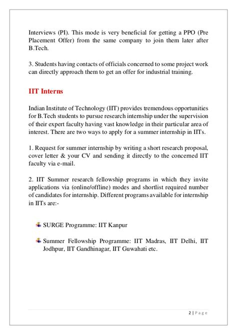 Iit Professors Resume by Internship Guide