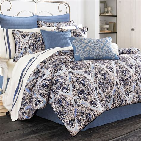 santorini indigo medallion comforter bedding  piper wright