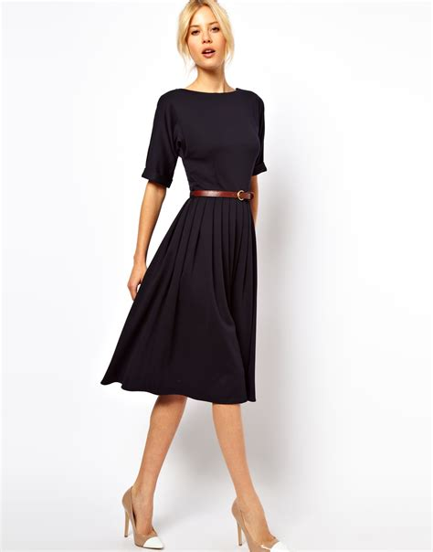 navy blue casual dress asos midi dress with skirt and belt in blue navy lyst