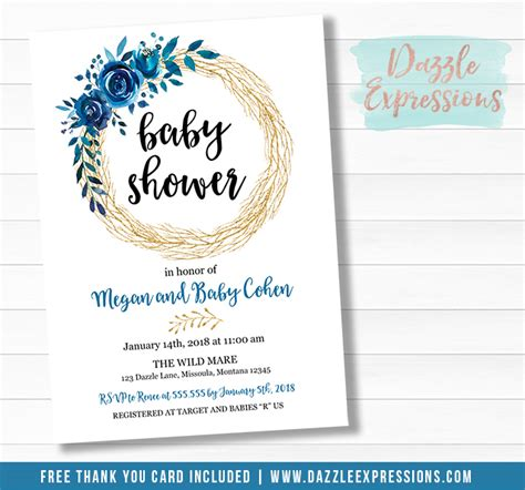 printable blue  gold floral wreath baby shower