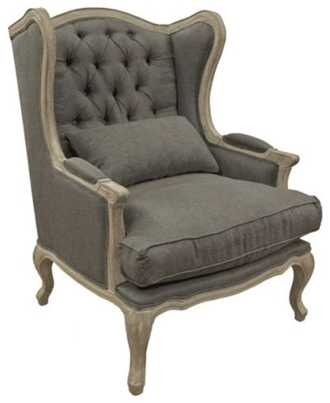 tufted wingback chair mocha traditional armchairs and