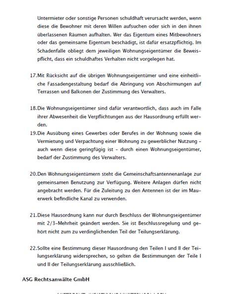 Eigentuemergemeinschaft Rechte Pflichten by Hausordnung Eigent 252 Mergemeinschaft Muster Als