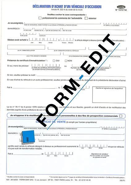 declaration achat vehicule occasion jankuit nl d 233 claration d achat d un v 233 hicule d occasion form edit