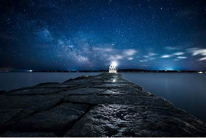 Lighthouse Amazing Ocean Night Sky Wallpapers Starry