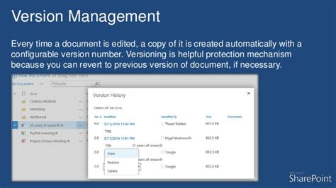 sharepoint  document management features