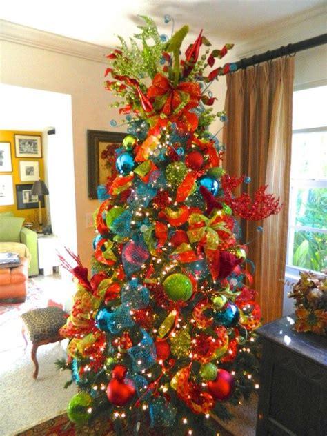 red green blue christmas trees reindeer christmas tree