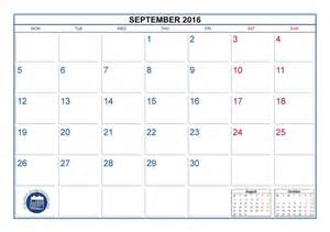 September 2016 Calendar with Holidays Printable