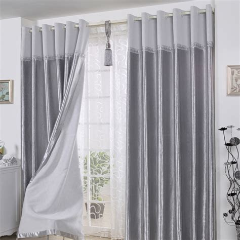 decorative polyester ready made curtains in gray for