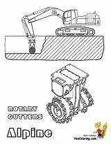Construction Coloring Mining Digging Excavator Machine Cutters Yescoloring Alpine sketch template