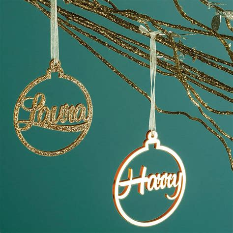 metallic bauble personalised christmas decoration by