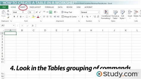create  table   excel worksheet video