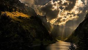 Nature, Photography, Landscape, Sun, Rays, Mountains, Sunlight, Dark, Clouds, Lake, Trees