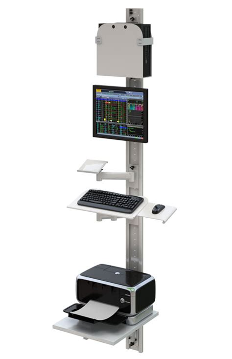 track mounted height adjustable computer station