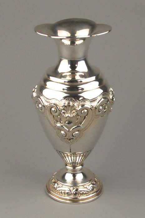Ornamental Vase by Beautiful Solid Silver Hammered Ornamental Vase Circa 1900