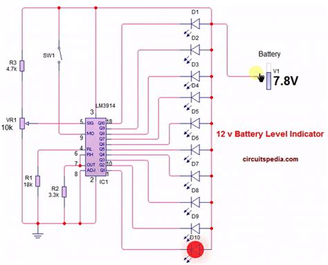 Battery Level Indicator Electronic Projects Design Ideas