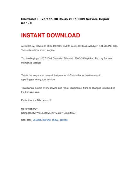 car repair manual download 2002 chevrolet silverado user handbook chevrolet silverado hd 35 45 2007 2009 service repair manual