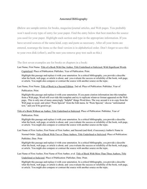 Annotated Bibliography Template Annotated Bibliography Template In Word And Pdf Formats