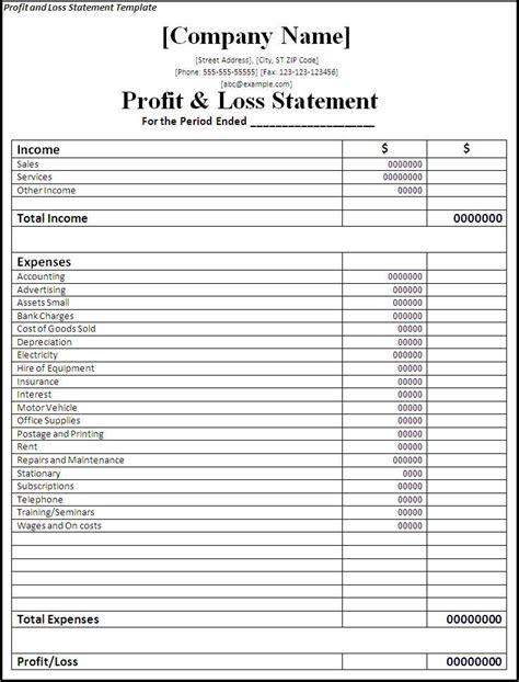 printable profit  loss statement  word templates