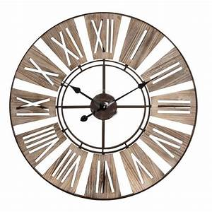 Horloge Murale Industrielle : horloge murale design industriel chiffres romains bois et m tal 70cm ~ Teatrodelosmanantiales.com Idées de Décoration