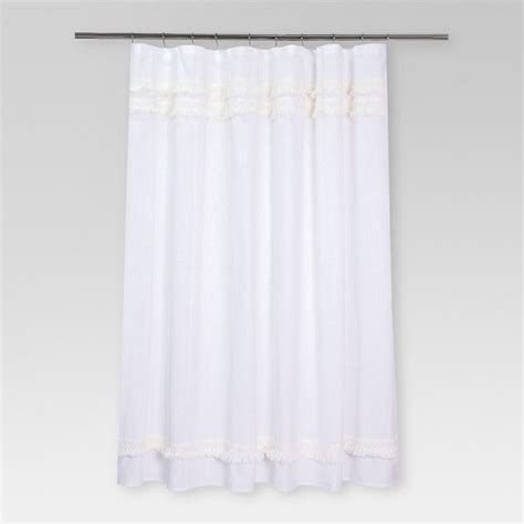 threshold shower curtains macram fringe shower curtain threshold target