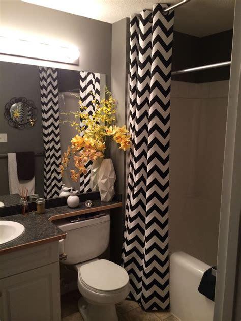 black white yellow small bathroom chevon floor  ceiling curtains   home