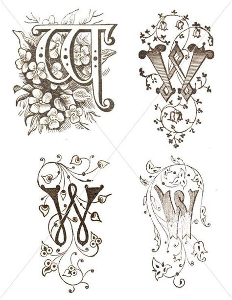 initial  digital letters flourish clipart antique lettering printable floral  font graphic